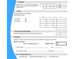Custom order form printing